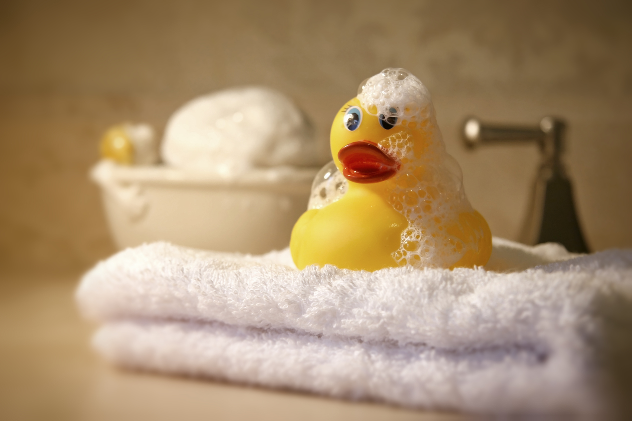 Bath time with soap and rubber ducky