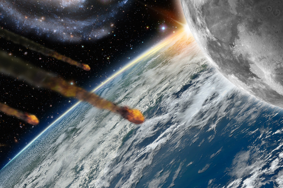 Illustration of asteroids flying over planet earth and its moon - 3D Render - Maps courtesy of Nasa at http://earthobservatory.nasa.gov/IOTD/view.php?id=885