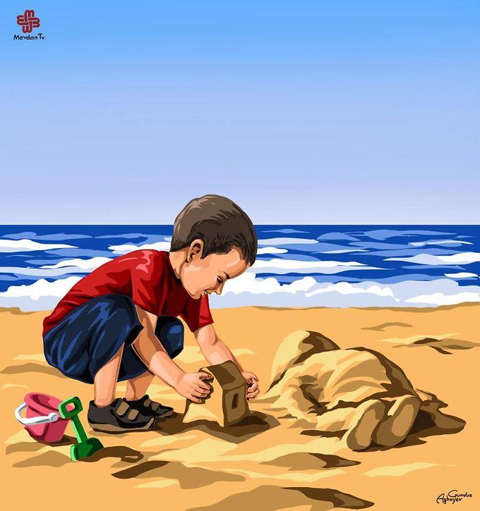 Niño en la playa 7