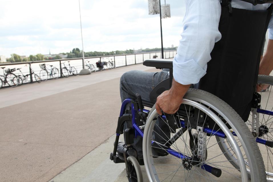 Closeup of wheelchair