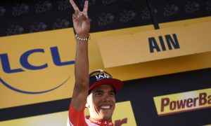 Stage winner Colombia's Jarlinson Pantano celebrates on the podium after winning the 160 km fifteenth stage of the 103rd edition of the Tour de France cycling race on July 17, 2016 between Bourg-en-Bresse and Culoz. / AFP PHOTO / LIONEL BONAVENTURE